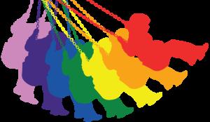 Schommelend regenboogmeisje (png)
